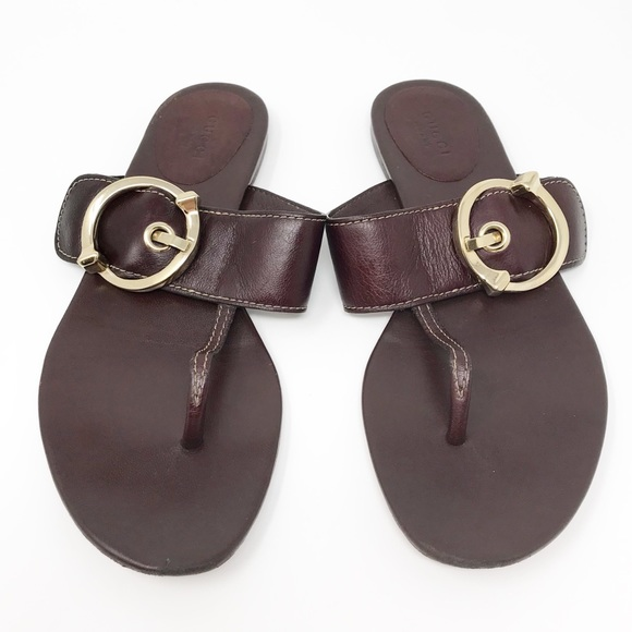 8b10bb4fd Gucci Shoes - Gucci Brown Leather Thong Sandals Size 8
